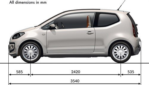 VW Up Dimensions Side Only