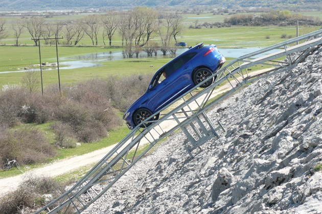 Jaguar F Pace Blue Descending Dam