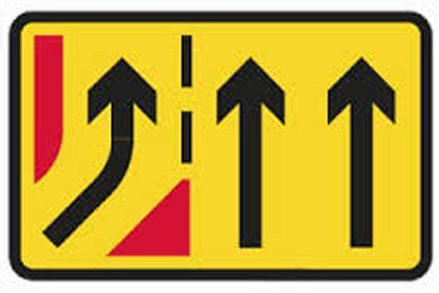Yellow Temporary Road Sign