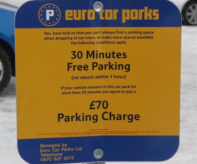 Parking Notice Euro Car Parks 700