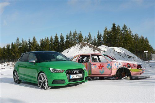 Audi S1 Green + Pink Volvo 1
