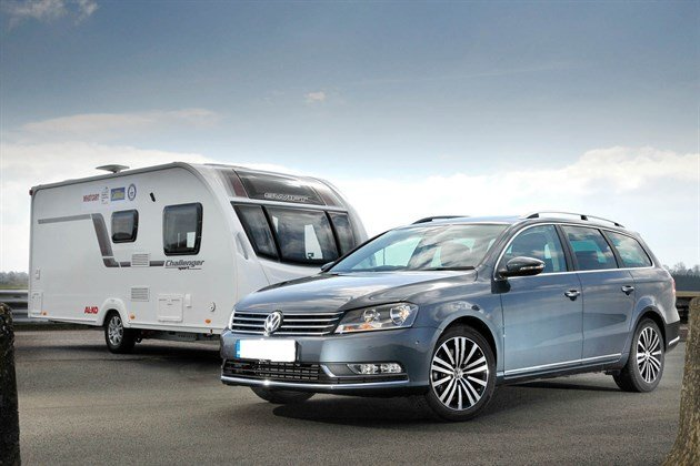 VW Passat Estate 13 Reg With Caravan Retouched